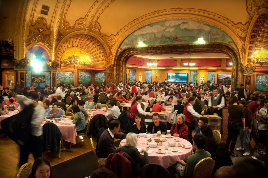 Boston is also a great place, because you are in contact with a lot of different cultures. Right in the middle in Boston Town town is an old Theater, that host an very famous Dim Sum  restaurant of the Chinese community. I hope you can feel the atmosphere of this place in my place.